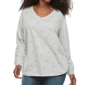 Sonoma French Terry Sweatshirt Feather Gray Top 1X